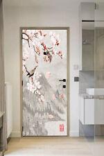 3D Bird Flower Painting Self-adhesive Door Stickers Decorative Decal Mural