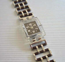ORGANIC CHAIN! Silver & Brown Swatch SQUARE with Metal Fliplock Band-NIB!