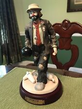 Flambro Emmit Kelly Jr The Bowler Hobo Clown Figurine Bowling Ball W/stand