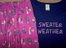 NWT Munki Munki Nite Purple FOXES~BEARS Flannel Pants/Navy Knit Top Pajama Set M