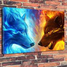 """""""Ice & Fire"""" Wolves Printed Box Canvas Picture A1.30""""x20"""" 30mm Deep Wild Animals"""