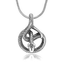 925 Sterling Silver Detailed Coil Cobra Snake Animal Lovers Pendant Necklace Gif