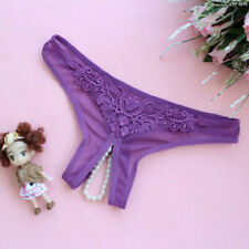 Sexy Open Crotch Lingerie G-String Crotchless Pearl Thong Panty Underwear Women