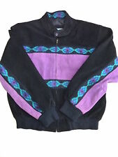 MENS SMALL Vintage ADLER Purple South Western 80's leather BOMBER JACKET SIZE S