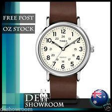 Timex Men's Weekender Brown Leather Watch T2P495 - Free Post in AU