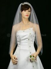 1T White Wedding Bridal Fingertip Length Rhinestone Veil