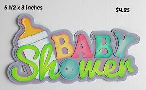 BABY SHOWER TITLE boy girl scrapbook premade paper piecing 3D die cut by Rhonda