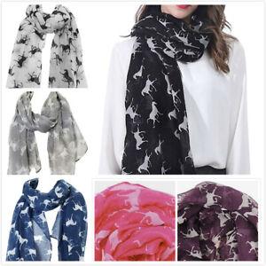 Womens  Horse Pattern Print Scarf Shawl Ladies Soft Long Scarves Fashion Gift