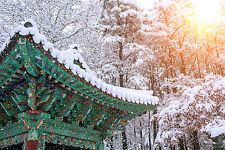 BEAUTIFUL SNOWY PAGODA CANVAS PICTURE #39 STUNNING LANDSCAPE HOME DECOR CANVAS