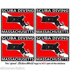 MASSACHUSETTS SCUBA DIVING Flag-Map Shape USA 50mm Rectangular Sticker Decal x4
