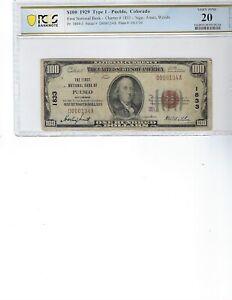 1929 $100 National Bank Note FR1804-1 CH 1833 Pueblo, Colorado!!! PCGS 20 VF!!!