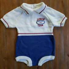 Vintage Baby Togs Boys One Piece Acrylic Knit Junior Team Romper 12 Months