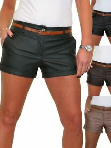 Ladies Stretchy Leather Look Hotpants Shorts With Belt Wet Look 8-16