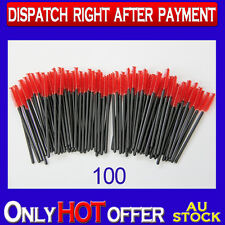 100 Pack Disposable Red Mascara Wands Eyelash Brush Set Handy Easy to Carry