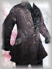 Victorian Black Frock Coat Brocade Vintage Goth Steampunk Wedding Edwardian