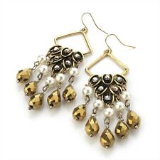 GOLD TONE DROP DANGLE EARRINGS WITH CRYSTAL DETAIL PEARL AND FACETED DROP BEADS