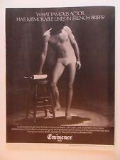 1980 Print Ad Eminence Paris Men's Boxer Briefs Underwear ~ Spotlight Actor