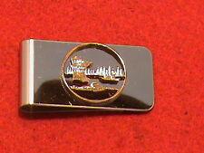 Hand cut Minnesota quarter 24 kt gold plated mounted as a money clip