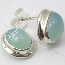 """925 SOLID Silver CABOCHON CHALCEDONY LOVELY BESTSELLER Stud Earrings 0.5"""" NEW"""