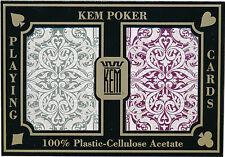 KEM 100% Plastic Playing Cards Jacquard Wide Jumbo Index CASINO POKER ROOM *