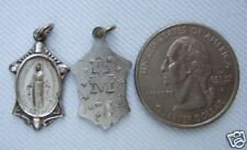 Vintage Catholic Medal  Virgin Mary / Miraculous Silver finish metal - NICE!
