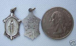 Vintage Catholic Medal  Virgin Mary / Miraculous Silver finish metal - NICE!