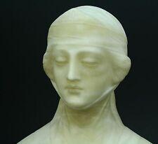 * Antique 1800's Italian NEO-RENAISSANCE White Marble Lady Bust Statue Figure