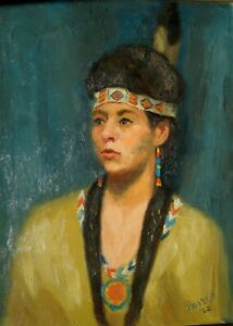 James Frayer 1962 Minnesota Chippewa Squaw Portrait Oil Painting Native American