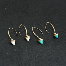Fashion Women Inlay Gold Plated Turquoise Natural Stone Earrings Hoop Dangle AU