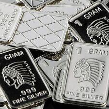 """""""Indian Headdress"""" Design. Lot of 10, 1 gram .999 Fine silver bullion bar. 'NEW'"""