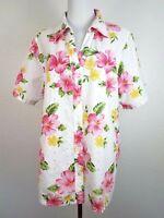White Stag Hibiscus Flower Cotton Short Sleeve White Pink Women Shirt Top 16W