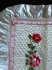 Set 2 Handmade Ruffle Satiny White Quilted Floral Embroidered Pillow Sham Cover