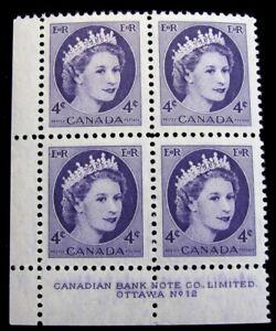 CANADA–Sc #340 – PB #12n LL – 4¢ – VIOLET – MINT & NH – 1954 – #540