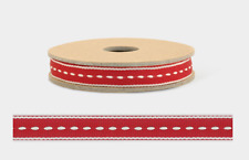 East of India Christmas Ribbon Assorted Designs 1 or 3 Metres Red / Ivory Stitch 9mm 100 Metre Roll