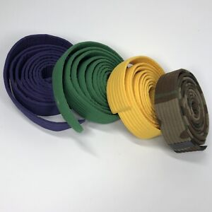 """Lot of 4 Martial Arts Karate Belts Yellow Green Purple & Camouflage - 102"""" (A)"""