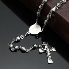 Silver Catholic Madonna Rosary 316L Stainless Steel Cross Pendant Necklace Chain