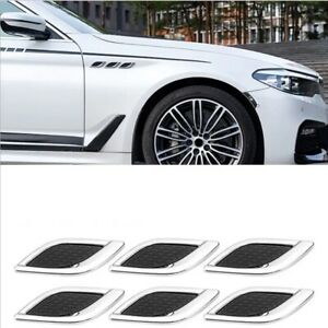 6Pcs 3D Car Stickers Fake Air Vent Trim Side Body Fender Hood Cover Accessories