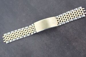 """Vintage SEIKO Beads of Rice MEN'S 2 tone Watch Band No ends 5 1/2"""" Japan B"""