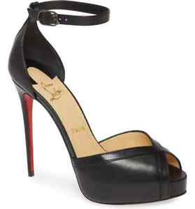 Christian Louboutin Pumps Very Cathy Black Ankle Strap Sandals Heels 38.5 Shoes