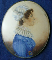 ANTIQUE19th CEN WATERCOLOR  MINIATURE FAMILY PORTRAIT PICTURE, '' ANNE HESLOP ''