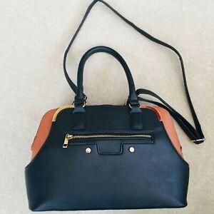 Tan Black Gold Tu Handbag Vegan Leather Zips Cross body Medium N5
