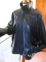 "Mens M&S black real leather COAT JACKET size Medium 38 40"" biker short"