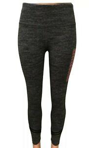 NWT Womens Calvin Klein Heather Black Accent Stripe Active Pants Small Leggings