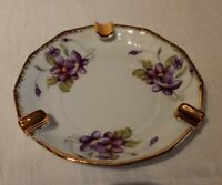Vintage Hand Painted Porcelain Ashtray Purple Lilac Flowers 5.5""