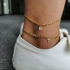 Stainless Steel Chain Initial Charm Personalized Small Alphabet Anklet Jewelry