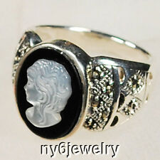 Mother Pearl/Marcasite onyx cameo .925 sterling Silver Ring Size 8 FREE SHIPPING