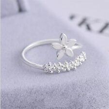 Jewelry Party Rings Us Size 5 -10 New style Flower Silver color Rings for Women