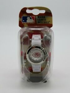 Cincinnati Reds MLB Game Time Fan Watch Stainless Case White Rubber Strap NIB