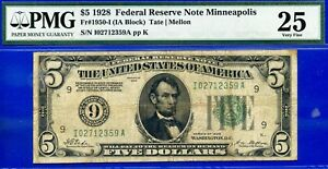 Rare 1928 $5 FRN (( Minneapolis )) PMG Very-Fine 25 # I02712359A-