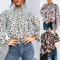 Womens Ruffle Frill Polka Dot Shirt Tops Ladies High Neck Long Sleeve Blouse  gi